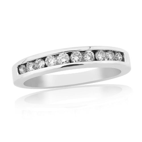White Gold Diamond Eternity Ring Channel Set 33 Points
